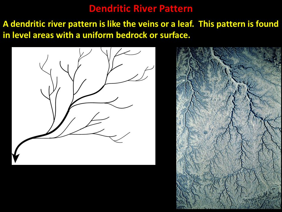 Dendritic River Pattern A dendritic river pattern is like the veins or a leaf. This pattern is found in level areas with a uniform bedrock or surface.