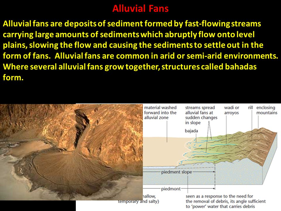 Alluvial Fans Alluvial fans are deposits of sediment formed by fast-flowing streams carrying large amounts of sediments which abruptly flow onto level