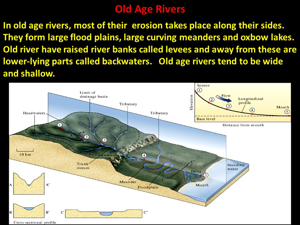 Old Age Rivers In old age rivers, most of their erosion takes place along their sides. They form large flood plains, large curving meanders and oxbow