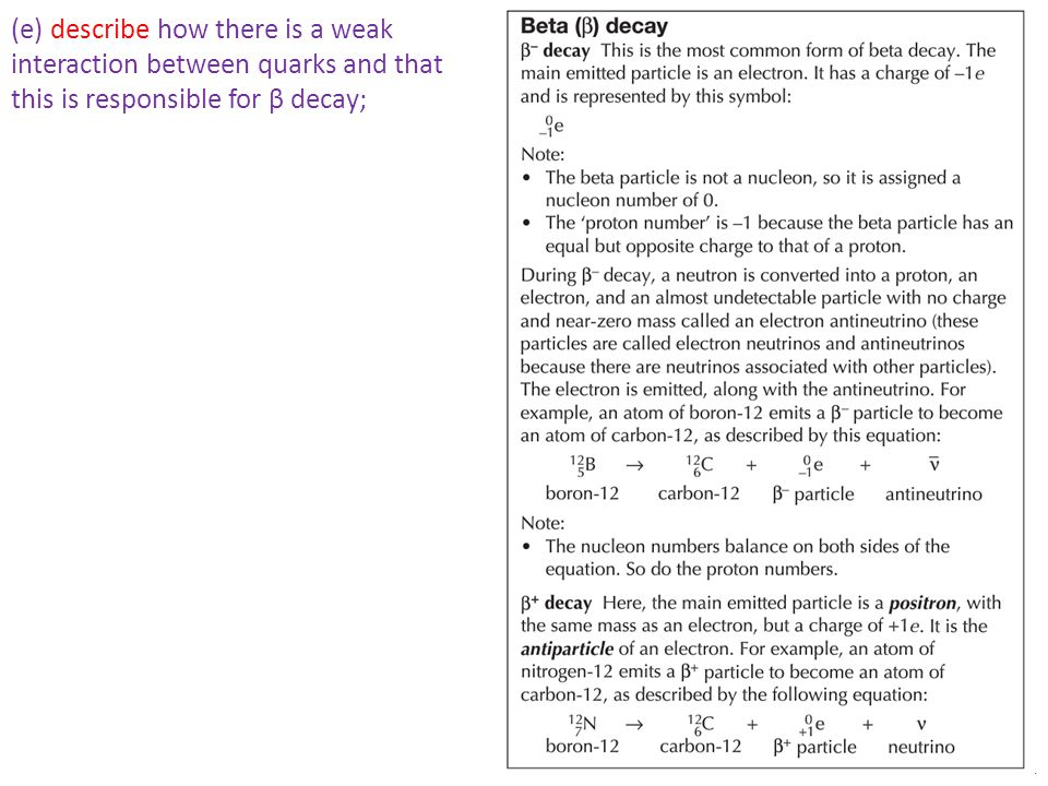 Mr Powell 2014 (e) describe how there is a weak interaction between quarks and that this is responsible for β decay;