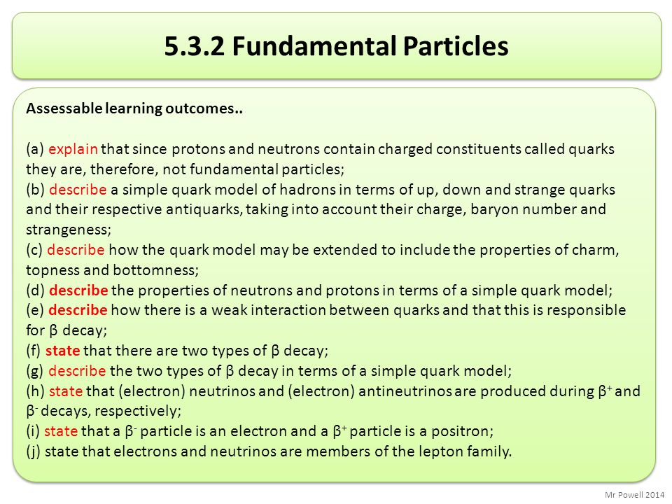 Mr Powell 2014 5.3.2 Fundamental Particles Assessable learning outcomes.. (a) explain that since protons and neutrons contain charged constituents cal