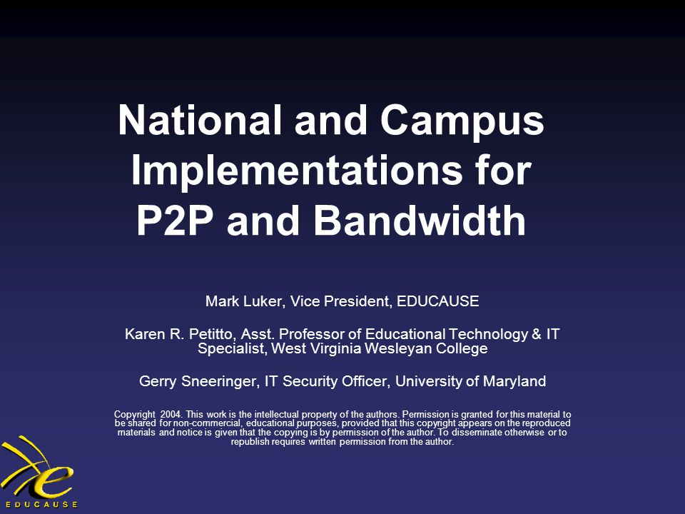 P2P File Sharing and Online Music Services Technology Task Force Joint Committee of Higher Education and the Entertainment Industry