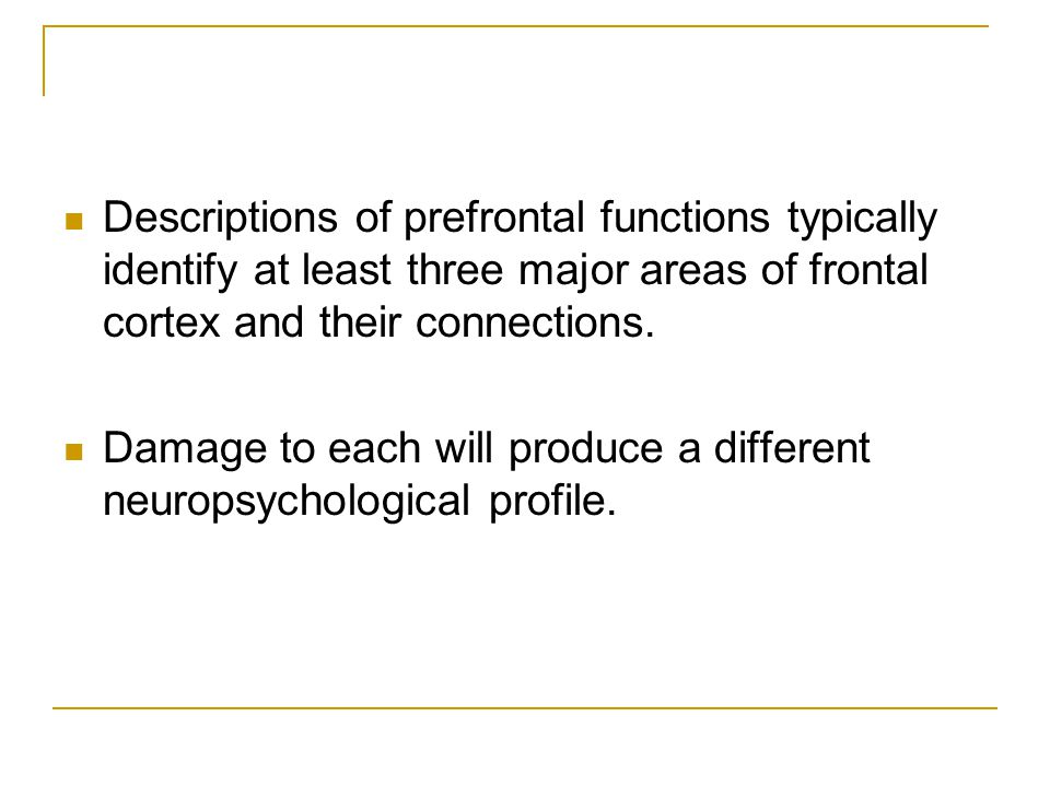 Descriptions of prefrontal functions typically identify at least three major areas of frontal cortex and their connections.
