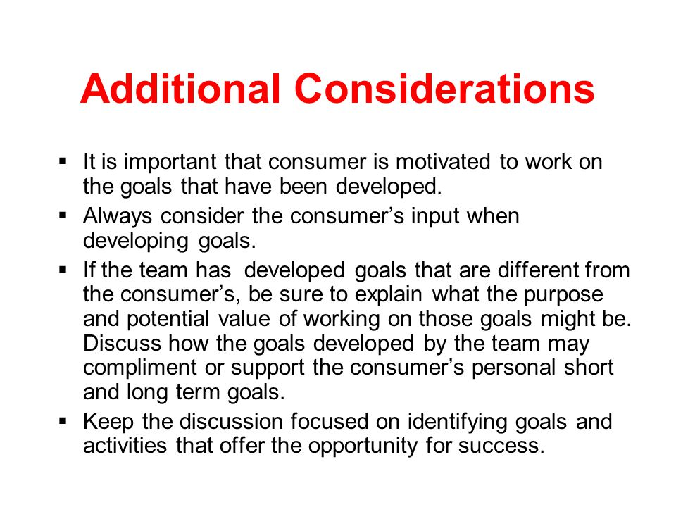 Considerations for Plan Development  Limitations in each deficit area may require specific accommodations.  Some deficits may not be obvious when yo