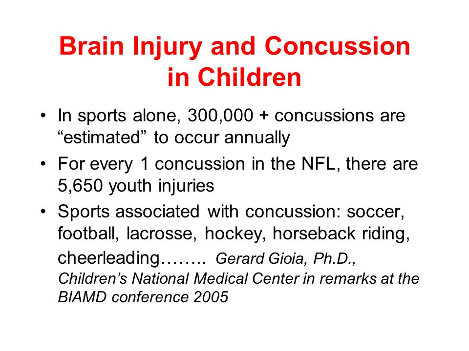 Brain Injury and Children According to the BIAA, Brain Injury is the leading cause of death and disability among children Approximately 470,000 TBI's