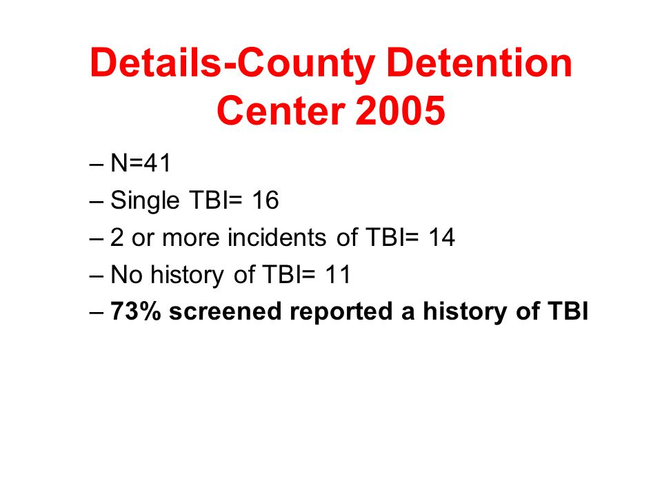 In Maryland- Screening Results from the MD TBI Post Demo II Project-2005 –Summary of TBI Incidence Among all Screened at 7 public mental health agenci