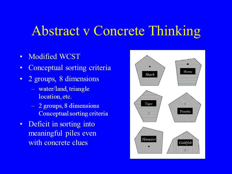 Abstract v Concrete Thinking Modified WCST Conceptual sorting criteria 2 groups, 8 dimensions –water/land, triangle location, etc. –2 groups, 8 dimens