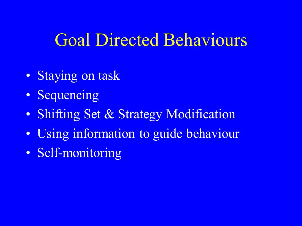 Goal Directed Behaviours Staying on task Sequencing Shifting Set & Strategy Modification Using information to guide behaviour Self-monitoring