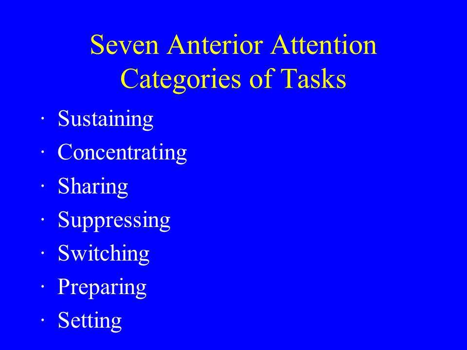Seven Anterior Attention Categories of Tasks ·Sustaining ·Concentrating ·Sharing ·Suppressing ·Switching ·Preparing ·Setting