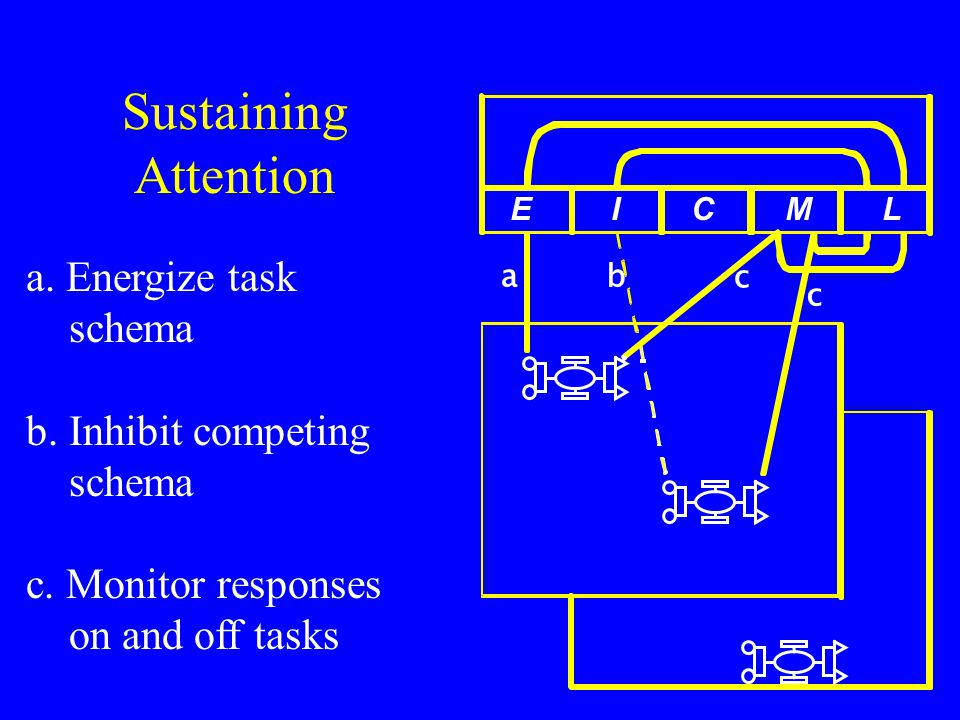 ab c c E I C M L Sustaining Attention a. Energize task schema b.