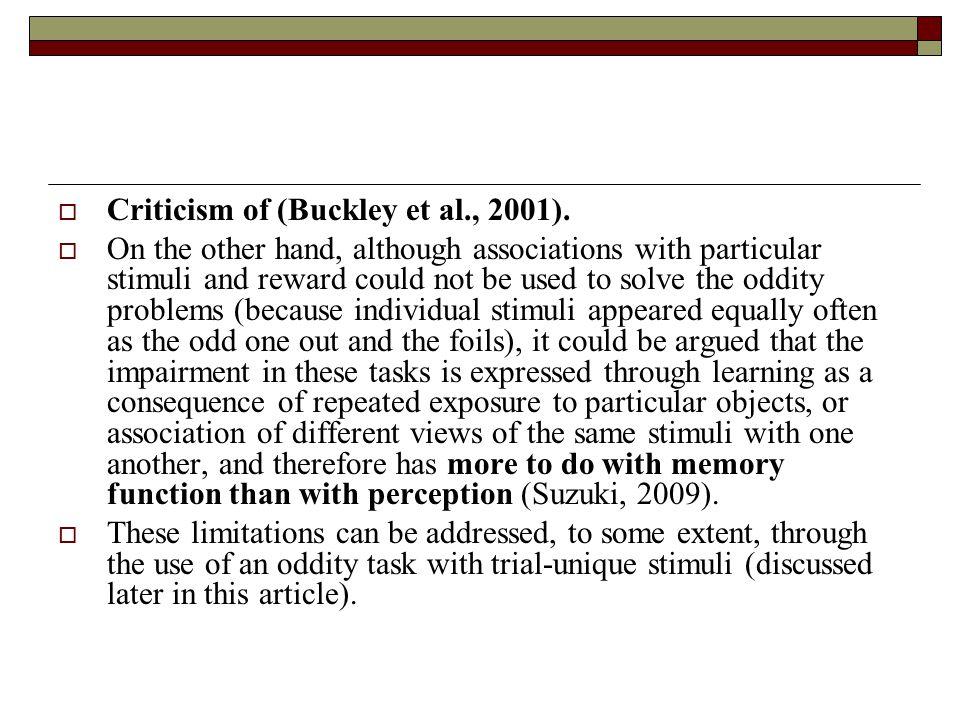  Criticism of (Buckley et al., 2001).