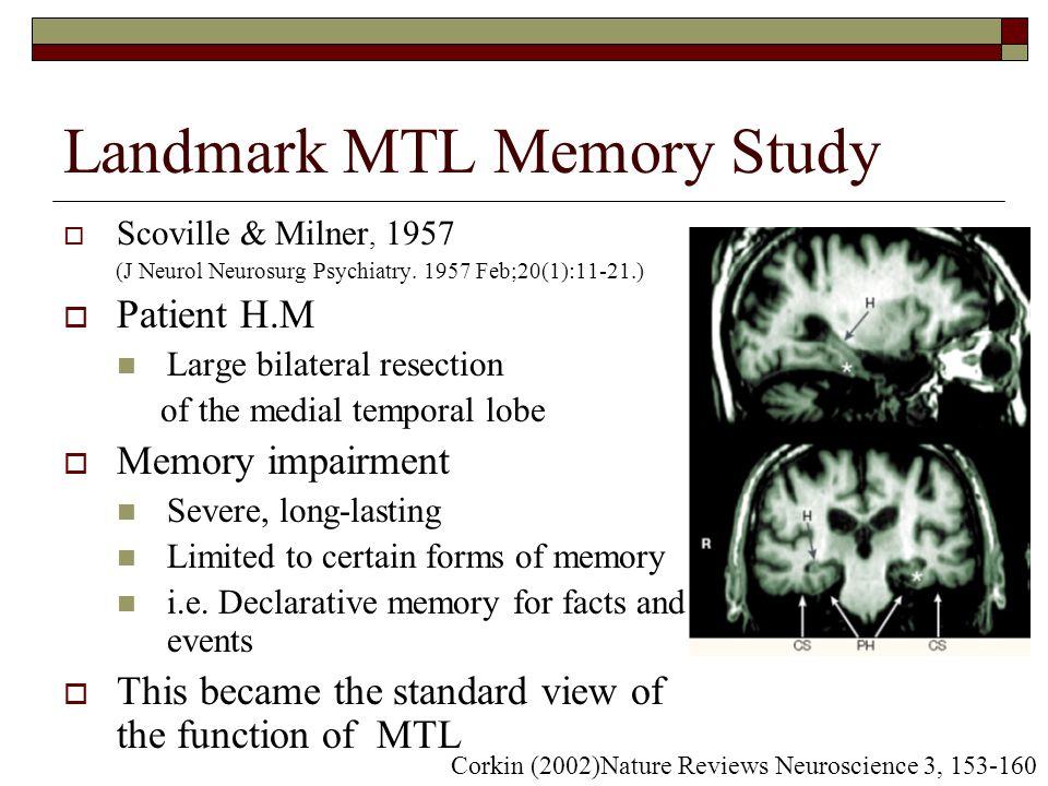 Landmark MTL Memory Study  Scoville & Milner, 1957 (J Neurol Neurosurg Psychiatry.