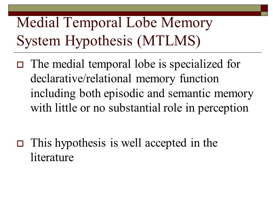Medial Temporal Lobe Memory System Hypothesis (MTLMS)  The medial temporal lobe is specialized for declarative/relational memory function including both episodic and semantic memory with little or no substantial role in perception  This hypothesis is well accepted in the literature