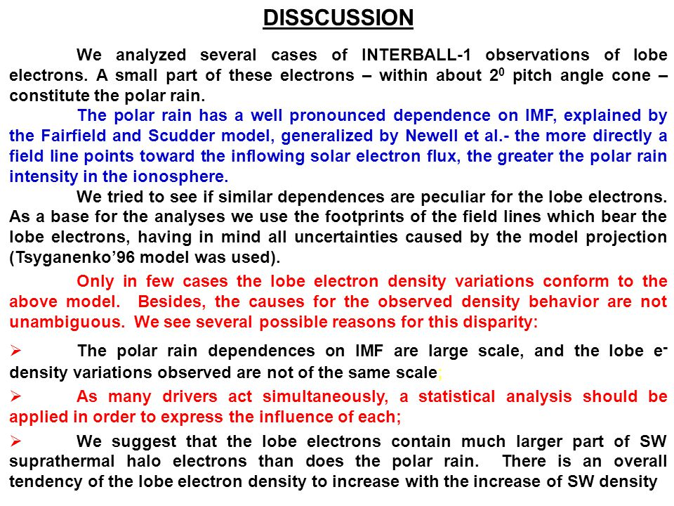 DISSCUSSION We analyzed several cases of INTERBALL-1 observations of lobe electrons.