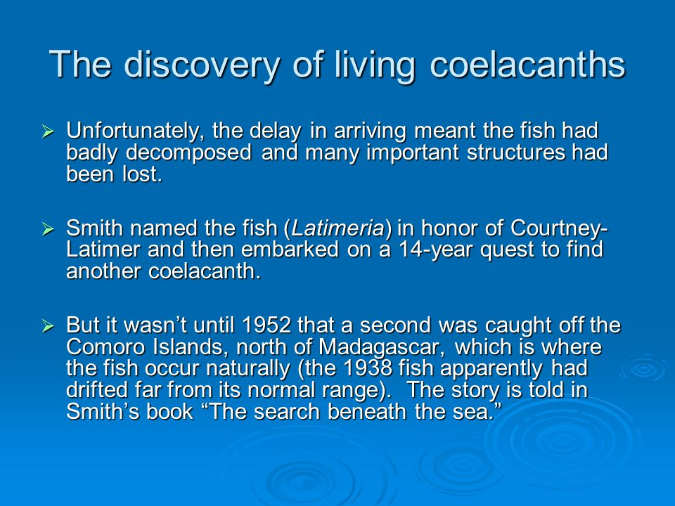 The discovery of living coelacanths  Unfortunately, the delay in arriving meant the fish had badly decomposed and many important structures had been lost.