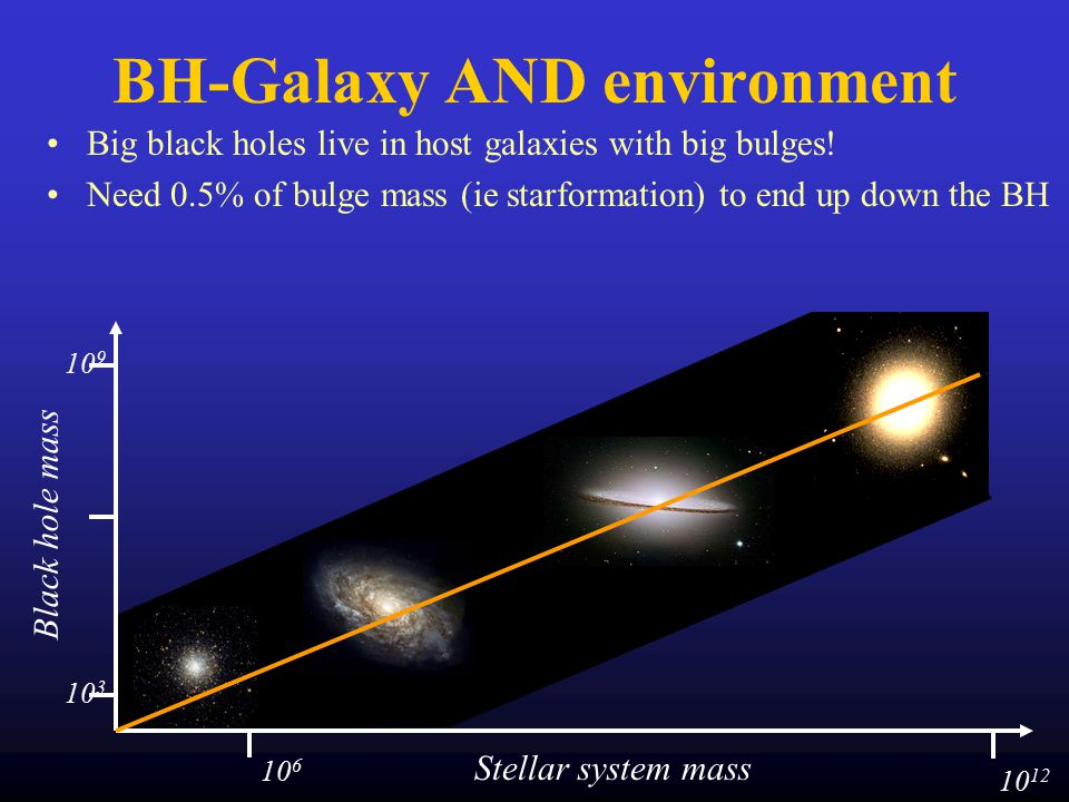 BH-Galaxy AND environment Big black holes live in host galaxies with big bulges.