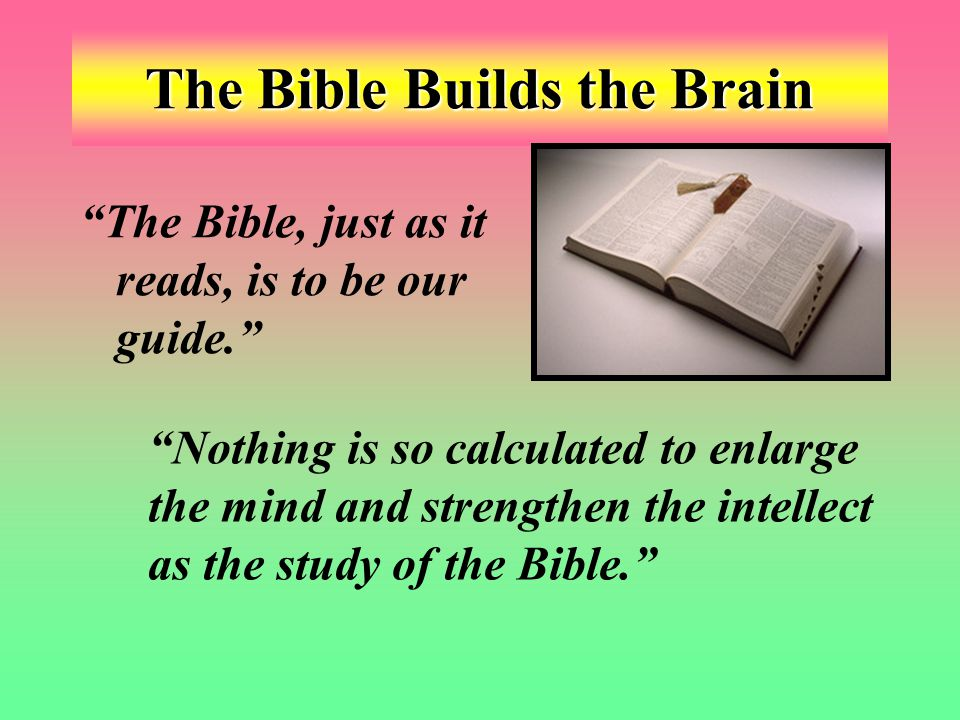 The Bible Builds the Brain The Bible, just as it reads, is to be our guide. Nothing is so calculated to enlarge the mind and strengthen the intellect as the study of the Bible.