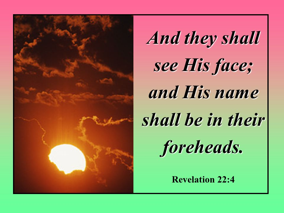 And they shall see His face; and His name shall be in their foreheads. Revelation 22:4