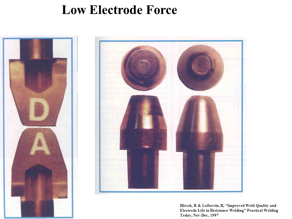"Low Electrode Force Hirsch, R & Leibovitz, R, ""Improved Weld Quality and Electrode Life in Resistance Welding"" Practical Welding Today, Nov-Dec, 1997"