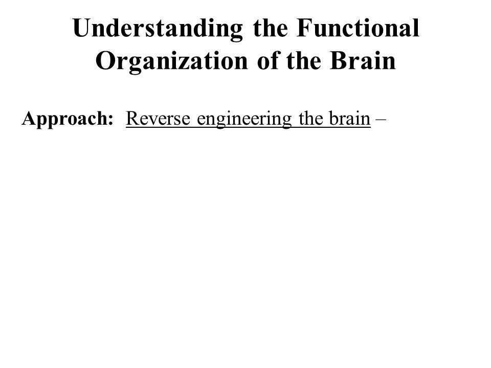 Understanding the Functional Organization of the Brain Approach: Reverse engineering the brain –