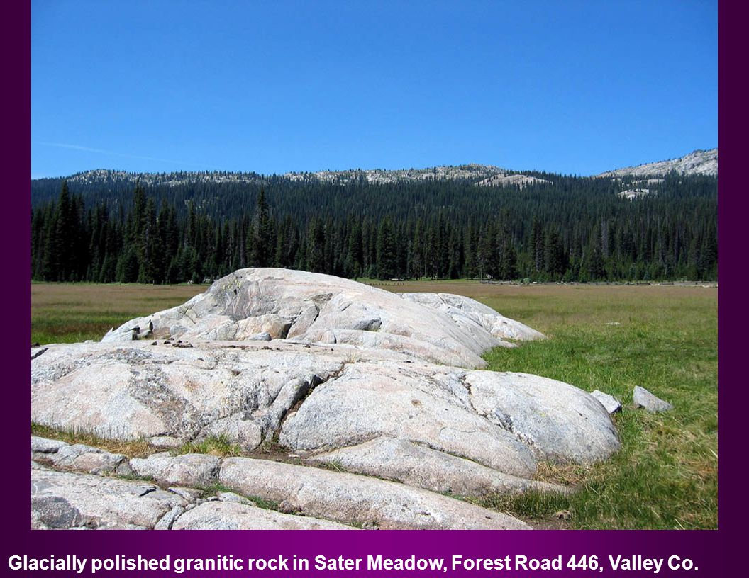 Glacially polished granitic rock in Sater Meadow, Forest Road 446, Valley Co.