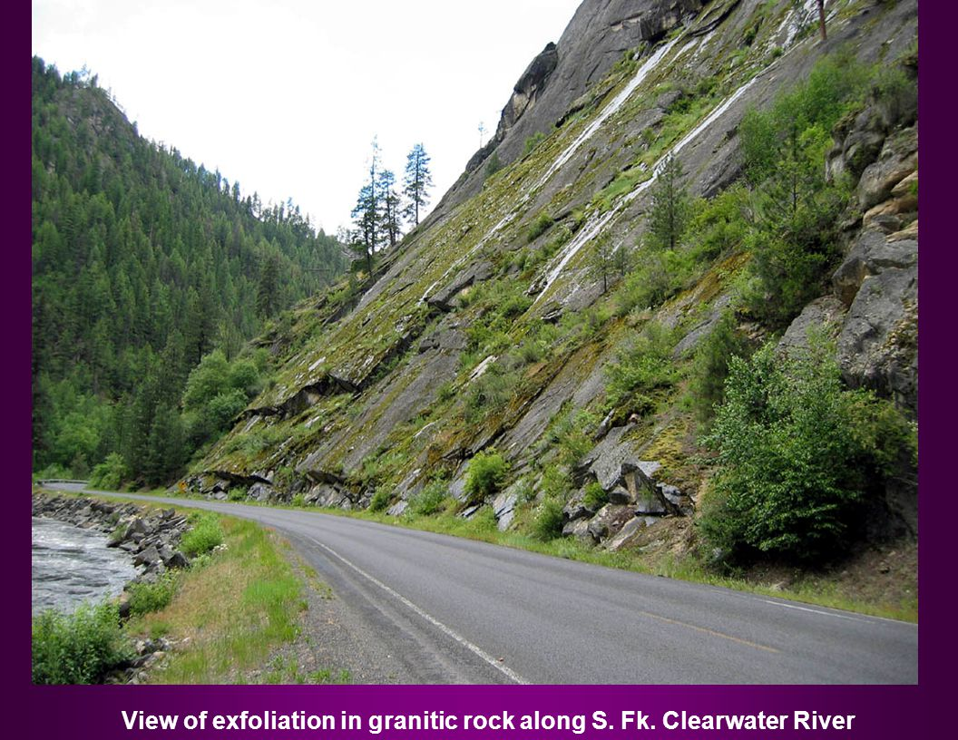 View of exfoliation in granitic rock along S. Fk. Clearwater River
