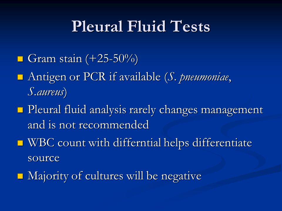 Pleural Fluid Tests Gram stain (+25-50%) Gram stain (+25-50%) Antigen or PCR if available (S. pneumoniae, S.aureus) Antigen or PCR if available (S. pn