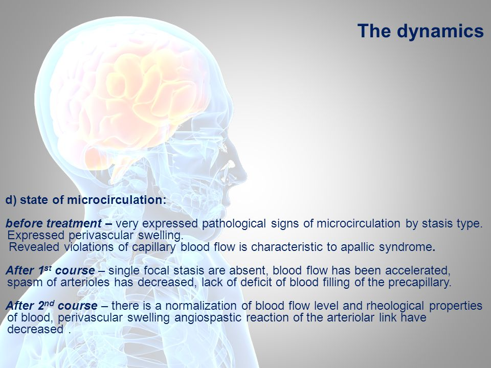d) state of microcirculation: before treatment – very expressed pathological signs of microcirculation by stasis type. Expressed perivascular swelling