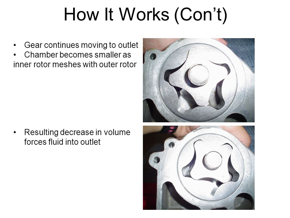How It Works (Con't) Gear continues moving to outlet Chamber becomes smaller as inner rotor meshes with outer rotor Resulting decrease in volume forces fluid into outlet