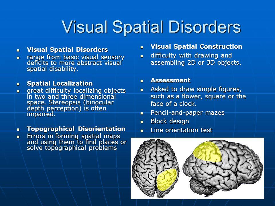 Visual Spatial Disorders Visual Spatial Disorders Visual Spatial Disorders range from basic visual sensory deficits to more abstract visual spatial di