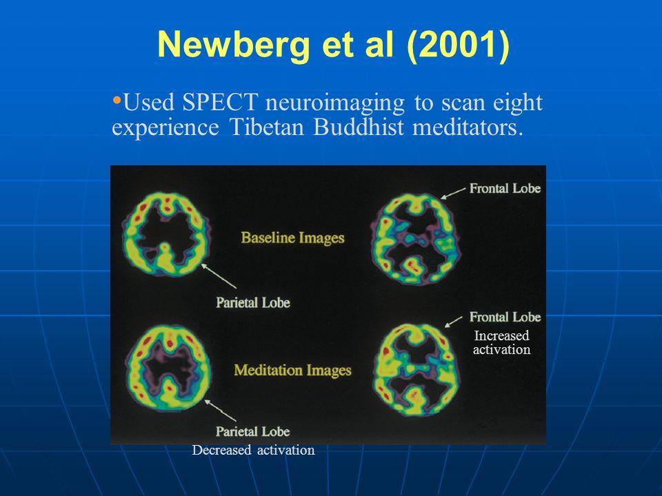 Newberg et al (2001) Used SPECT neuroimaging to scan eight experience Tibetan Buddhist meditators. Increased activation Decreased activation
