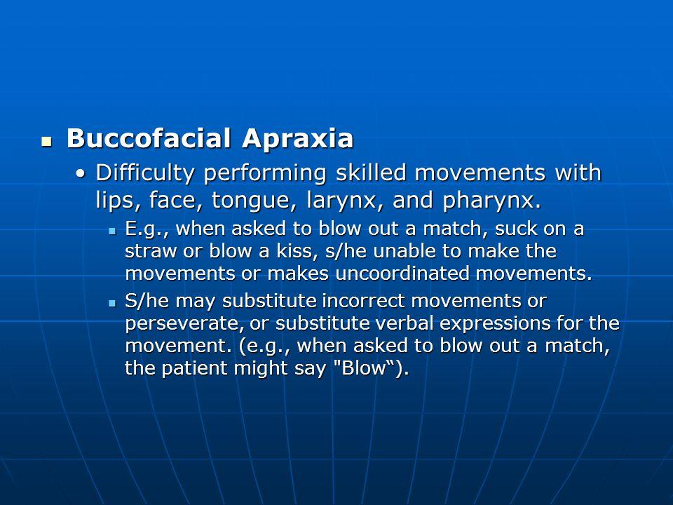 Buccofacial Apraxia Buccofacial Apraxia Difficulty performing skilled movements with lips, face, tongue, larynx, and pharynx.Difficulty performing ski