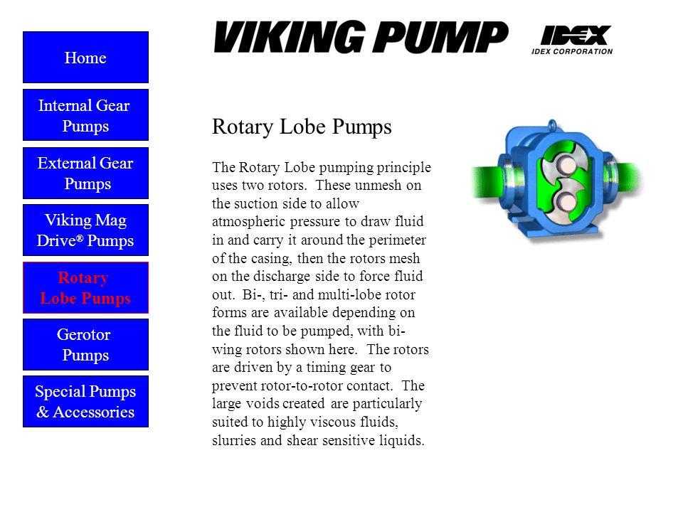 Rotary Lobe Pumps External Gear Pumps Viking Mag Drive ® Pumps Gerotor Pumps Home Rotary Lobe Pumps Special Pumps & Accessories The Rotary Lobe pumpin