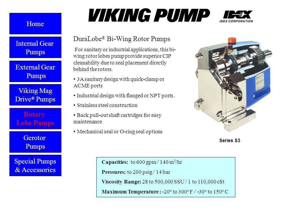 Dura Lobe ® Bi-wing External Gear Pumps Viking Mag Drive ® Pumps Gerotor Pumps Home Rotary Lobe Pumps Special Pumps & Accessories Capacities: to 600 g