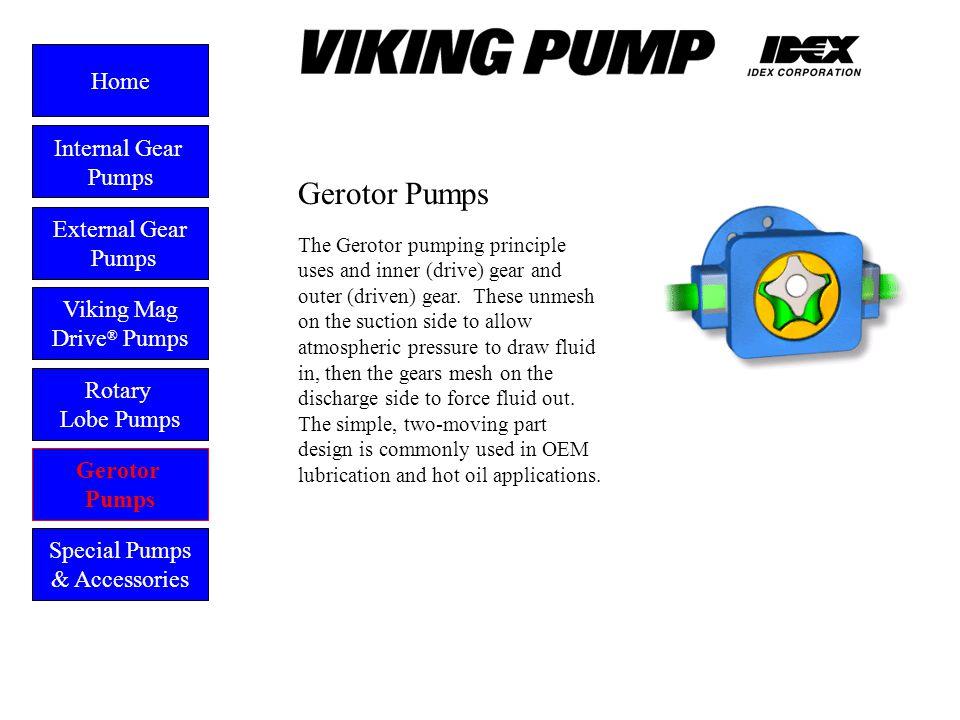 Gerotor External Gear Pumps Viking Mag Drive ® Pumps Gerotor Pumps Home Rotary Lobe Pumps Special Pumps & Accessories The Gerotor pumping principle us