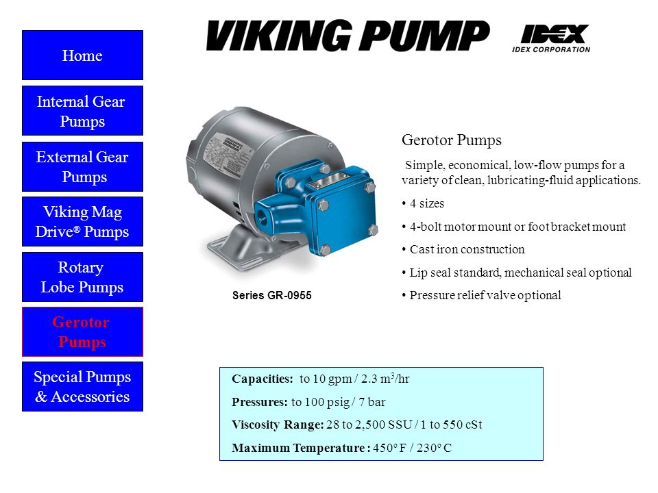 Gerotor External Gear Pumps Viking Mag Drive ® Pumps Gerotor Pumps Home Rotary Lobe Pumps Special Pumps & Accessories Capacities: to 10 gpm / 2.3 m 3