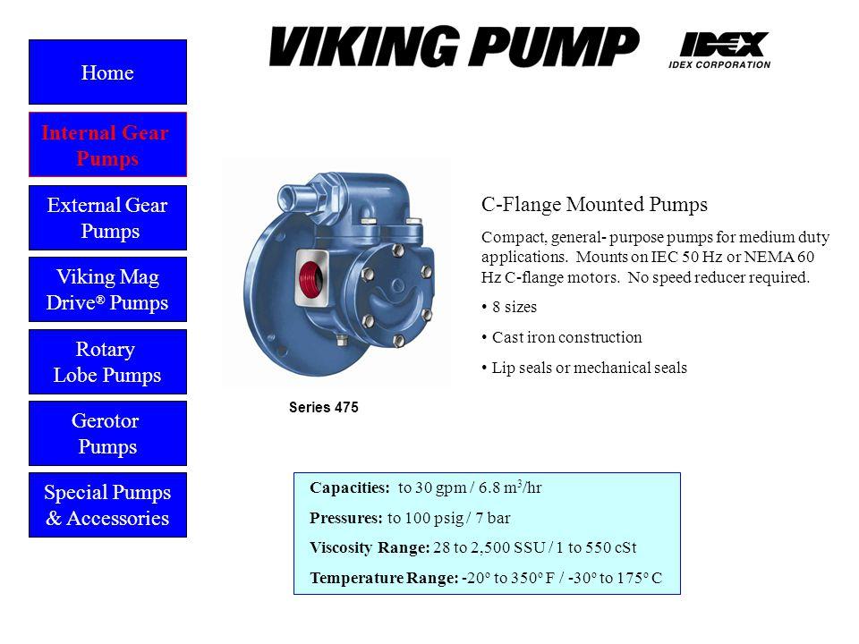 C-Flange Mounted Pumps Compact, general- purpose pumps for medium duty applications. Mounts on IEC 50 Hz or NEMA 60 Hz C-flange motors. No speed reduc