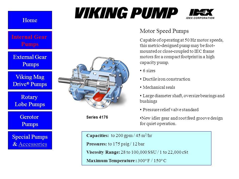 Motor Speed Pumps Capacities: to 200 gpm / 45 m 3 /hr Pressures: to 175 psig / 12 bar Viscosity Range: 28 to 100,000 SSU / 1 to 22,000 cSt Maximum Tem