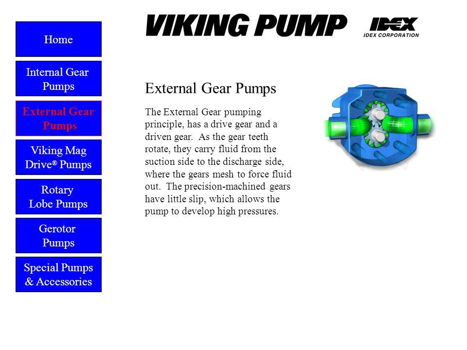 External Gear Pumps External Gear Pumps Viking Mag Drive ® Pumps Gerotor Pumps Home Rotary Lobe Pumps Special Pumps & Accessories The External Gear pu