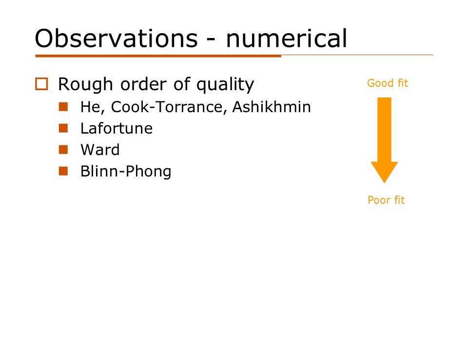 Observations - numerical  Rough order of quality He, Cook-Torrance, Ashikhmin Lafortune Ward Blinn-Phong Poor fit Good fit