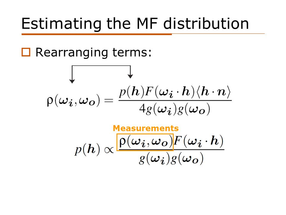 Estimating the MF distribution  Rearranging terms: Measurements