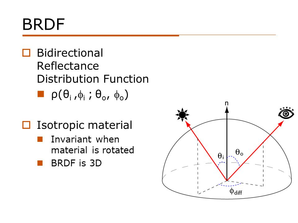 BRDF  Bidirectional Reflectance Distribution Function ρ(θ i, i ; θ o,  o )  Isotropic material Invariant when material is rotated BRDF is 3D