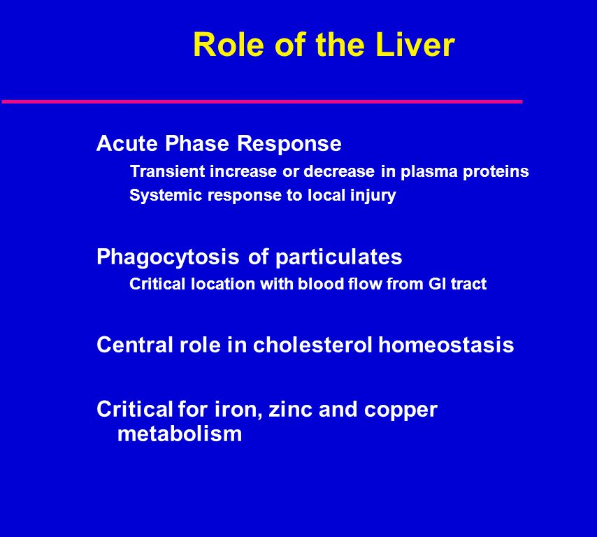 Role of the Liver Acute Phase Response Transient increase or decrease in plasma proteins Systemic response to local injury Phagocytosis of particulate