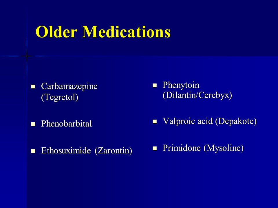 Older Medications Carbamazepine (Tegretol) Carbamazepine (Tegretol) Phenobarbital Phenobarbital Ethosuximide (Zarontin) Ethosuximide (Zarontin) Phenytoin (Dilantin/Cerebyx) Phenytoin (Dilantin/Cerebyx) Valproic acid (Depakote) Valproic acid (Depakote) Primidone (Mysoline) Primidone (Mysoline)