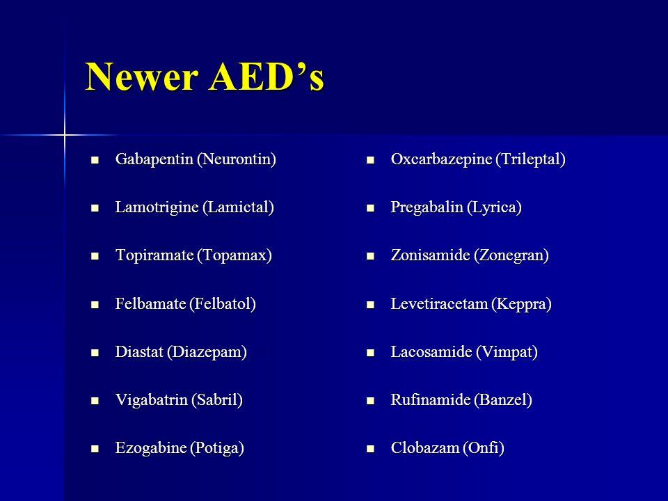 Newer AED's Gabapentin (Neurontin) Gabapentin (Neurontin) Lamotrigine (Lamictal) Lamotrigine (Lamictal) Topiramate (Topamax) Topiramate (Topamax) Felbamate (Felbatol) Felbamate (Felbatol) Diastat (Diazepam) Diastat (Diazepam) Vigabatrin (Sabril) Vigabatrin (Sabril) Ezogabine (Potiga) Ezogabine (Potiga) Oxcarbazepine (Trileptal) Oxcarbazepine (Trileptal) Pregabalin (Lyrica) Pregabalin (Lyrica) Zonisamide (Zonegran) Zonisamide (Zonegran) Levetiracetam (Keppra) Levetiracetam (Keppra) Lacosamide (Vimpat) Lacosamide (Vimpat) Rufinamide (Banzel) Rufinamide (Banzel) Clobazam (Onfi) Clobazam (Onfi)
