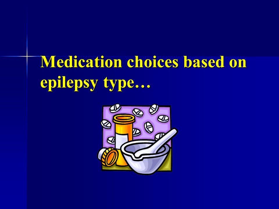 Medication choices based on epilepsy type…