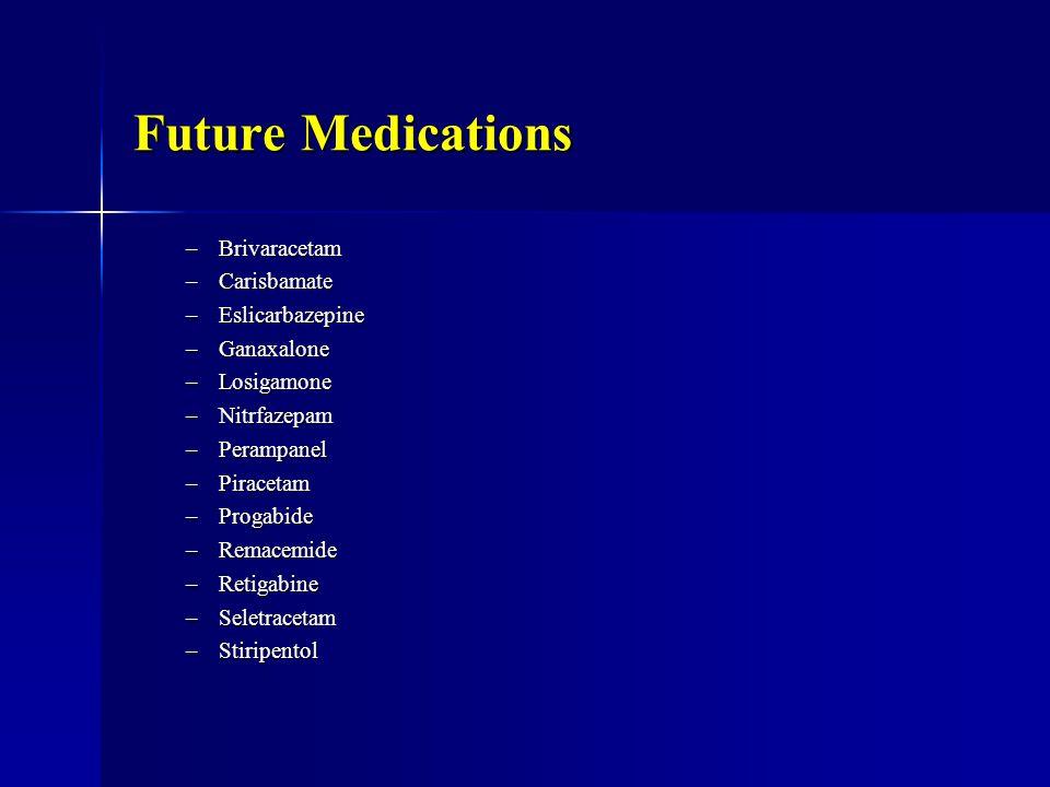 Future Medications –Brivaracetam –Carisbamate –Eslicarbazepine –Ganaxalone –Losigamone –Nitrfazepam –Perampanel –Piracetam –Progabide –Remacemide –Retigabine –Seletracetam –Stiripentol