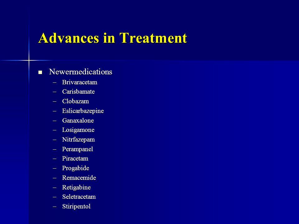 Advances in Treatment Newermedications Newermedications –Brivaracetam –Carisbamate –Clobazam –Eslicarbazepine –Ganaxalone –Losigamone –Nitrfazepam –Perampanel –Piracetam –Progabide –Remacemide –Retigabine –Seletracetam –Stiripentol