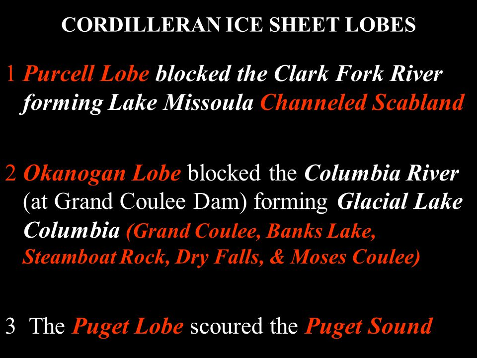 CORDILLERAN ICE SHEET LOBES 1Purcell Lobe blocked the Clark Fork River forming Lake Missoula Channeled Scabland 2Okanogan Lobe blocked the Columbia River (at Grand Coulee Dam) forming Glacial Lake Columbia (Grand Coulee, Banks Lake, Steamboat Rock, Dry Falls, & Moses Coulee) 3 The Puget Lobe scoured the Puget Sound