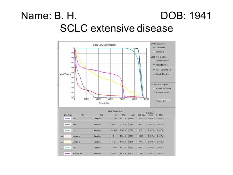 Name: B. H. DOB: 1941 SCLC extensive disease